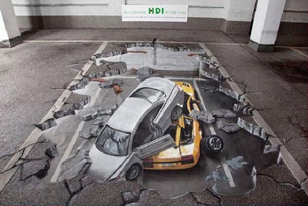 sol craquelé peint à la craie sur une place de parking