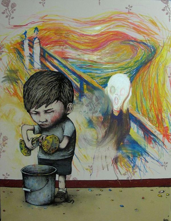 Un enfant essore une éponge dans un seau