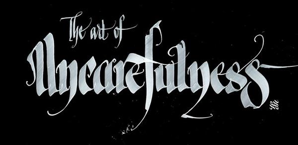 Calligraphie blanche sur fond noir by Shoe