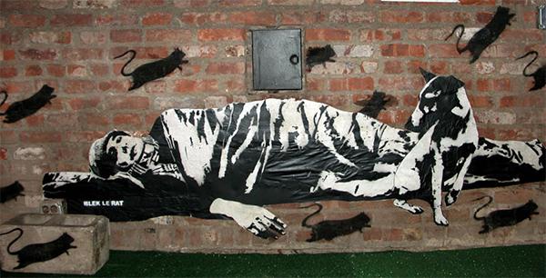 Création murale de Blek Le Rat