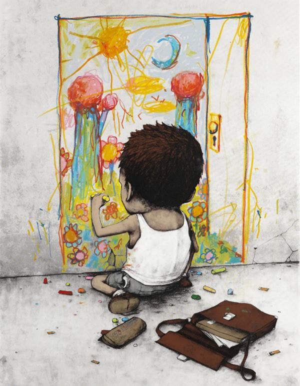 Un enfant peint un dessin sur un mur