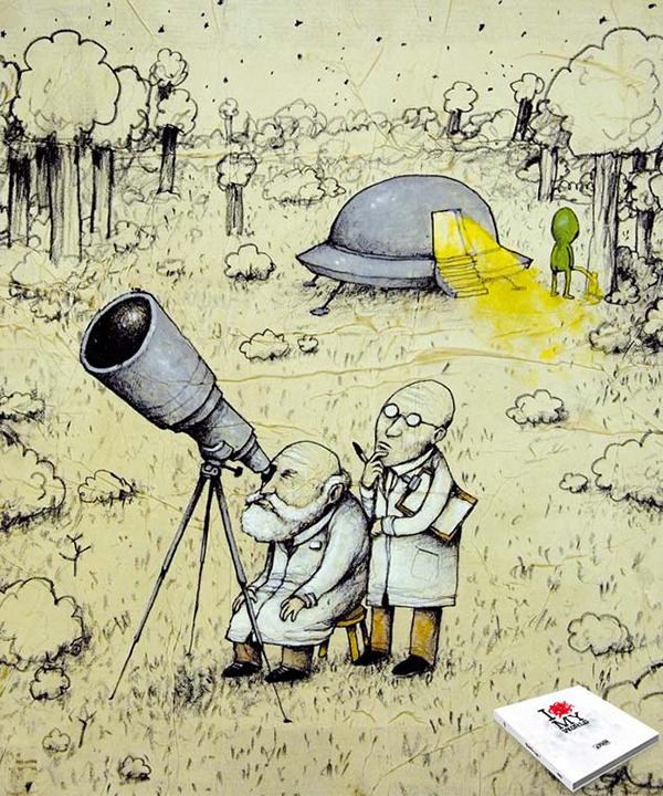 Deux scientifiques tournent le dos à un extra-terrestre