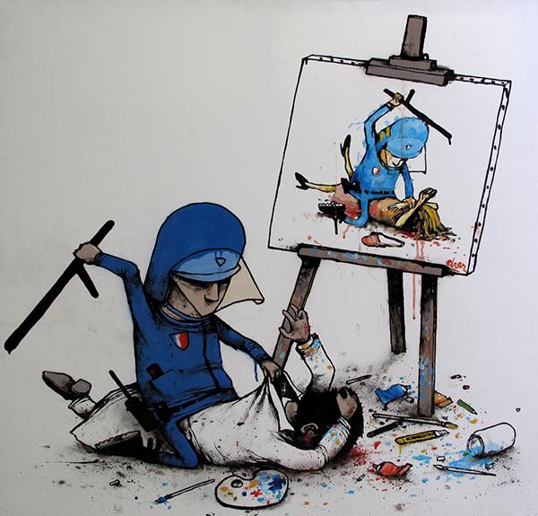 Un CRS tabasse un artiste