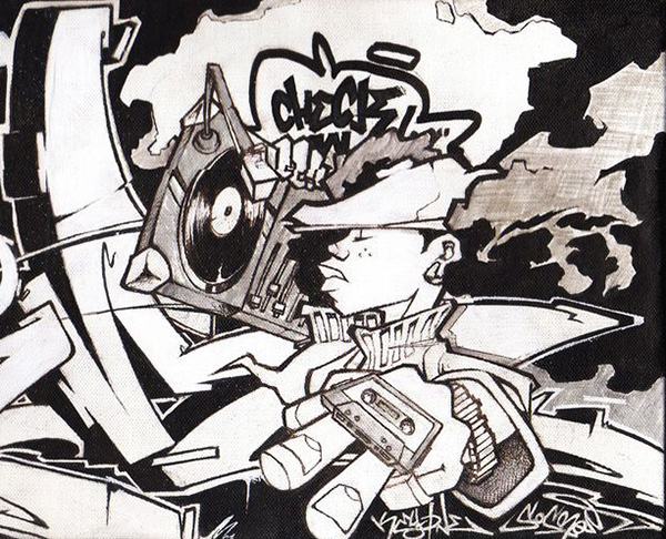 personnage bd graffiti à l'ancienne