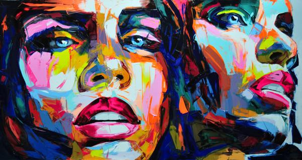 Deux visages peints par l'artiste française Nielly