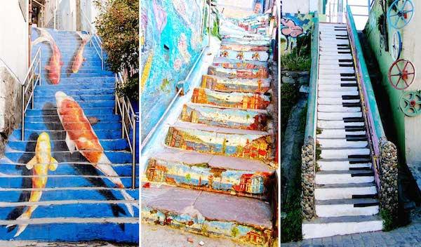 surfaces d'escaliers peintes pour dessiner un motif
