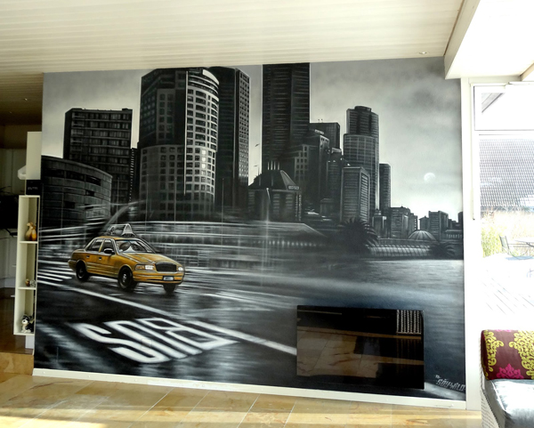taxi new yorkais devant une scène urbaine new yorkaise