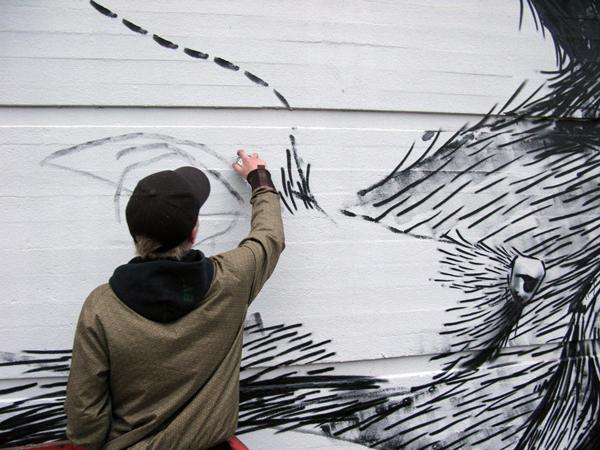 esquisses d'un animal par le célèbre Street artiste Roa