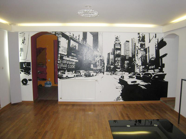 Mur de salon représentant un rue de NYC