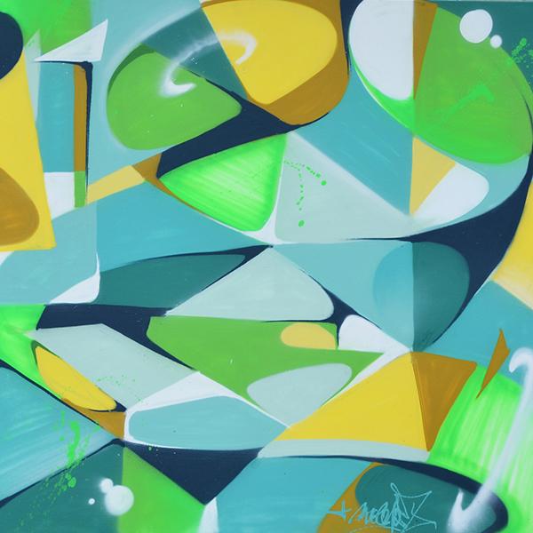 formes abstraites en couleurs vives sur toile