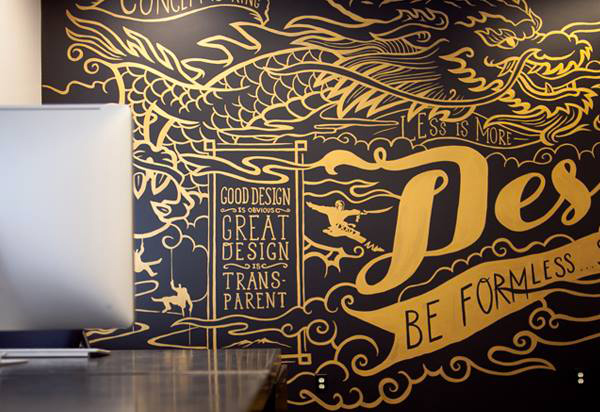 Fresque illustrative typographique