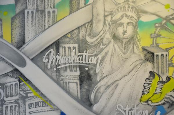 Détail de la fresque murale street art