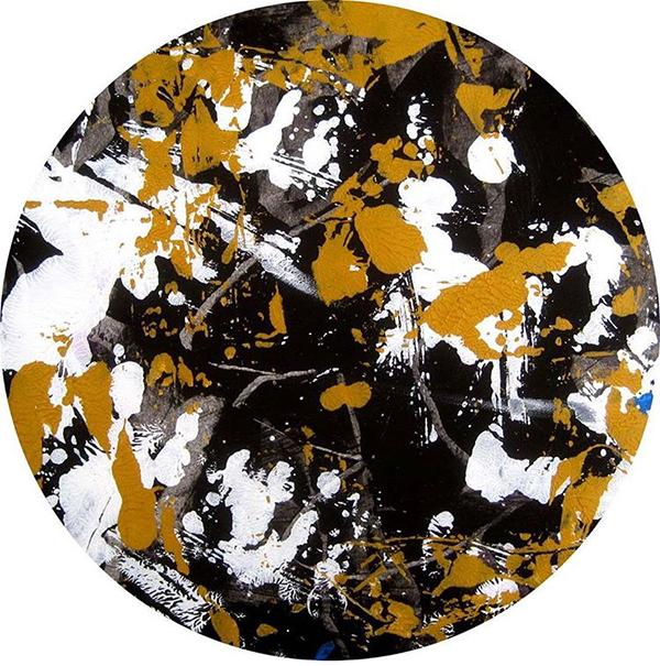Marron blanc noir forme circulaire peinture acrylique par contemporain toile graffiti Street Art