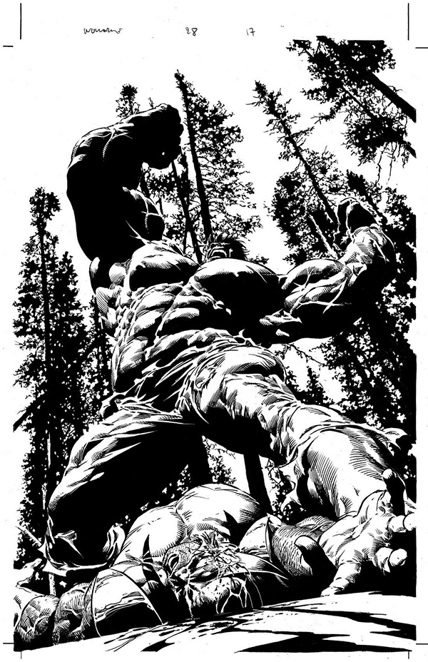 Hulk colère bagarre Marvel forêt noir et blanc spectaculaire