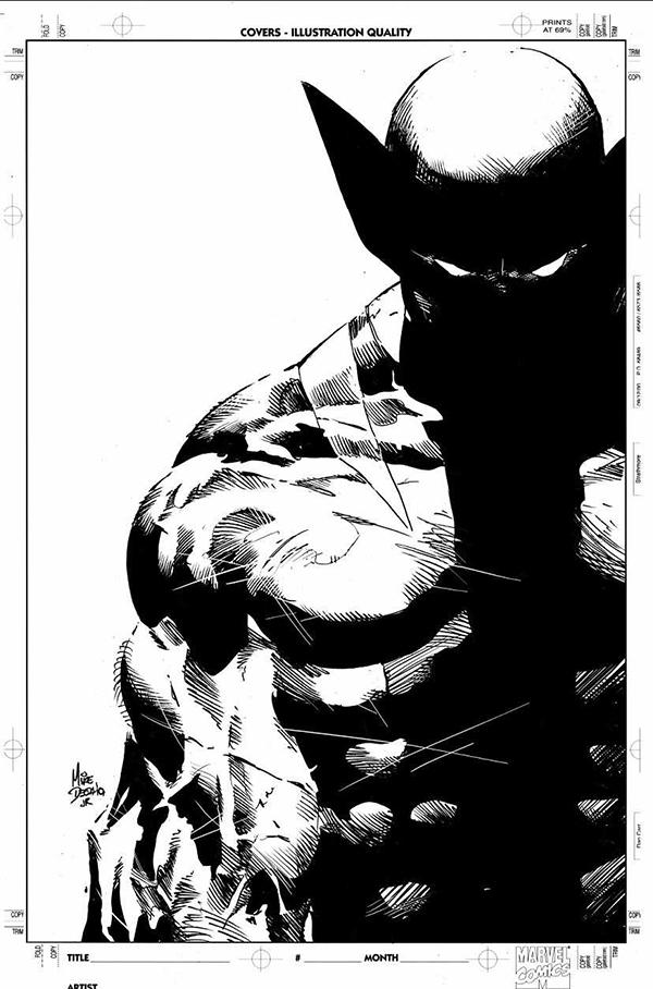 Dessins en noir et blanc représentant un superhéros Marvel