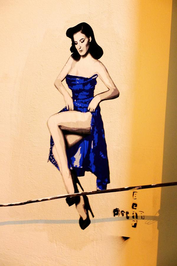 femme, danseuse, sensualité, street art, pochoir, stencil