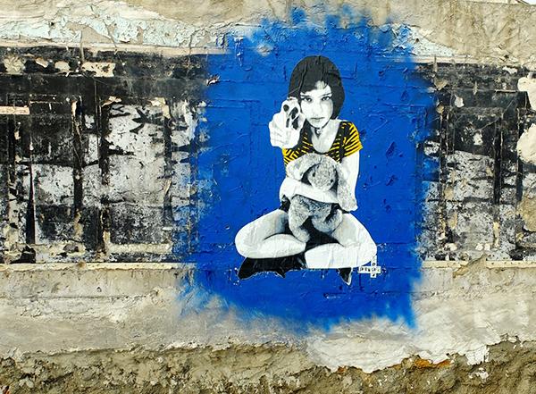enfant, arme, pochoir, mur, léon, film, inspiration, street, art, paris