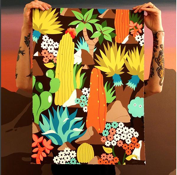toile, peinture acrylique, fresque décor, jungle, végétation, illustration