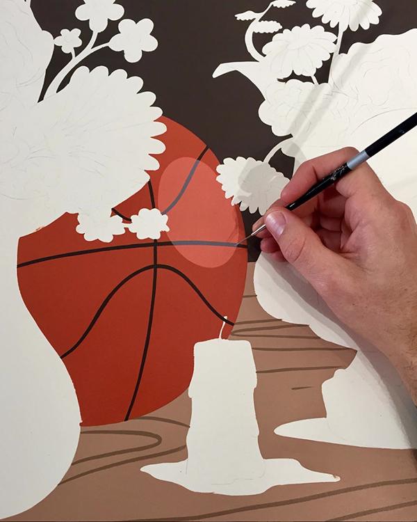Fresque en cours de peinture par le duo australien installé à Los Angeles
