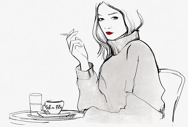 illustration ligne claire, peu de couleur, sobre élégance.