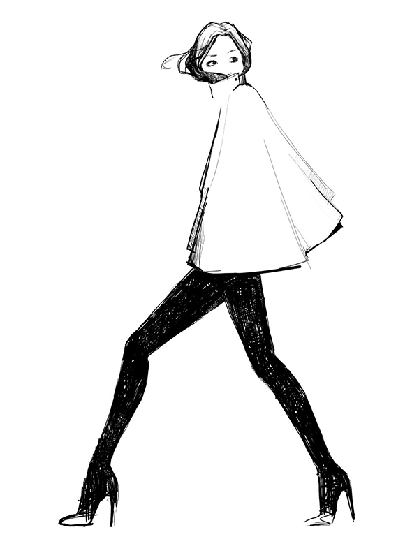 dessin, croqui, illustration en noir et blanc